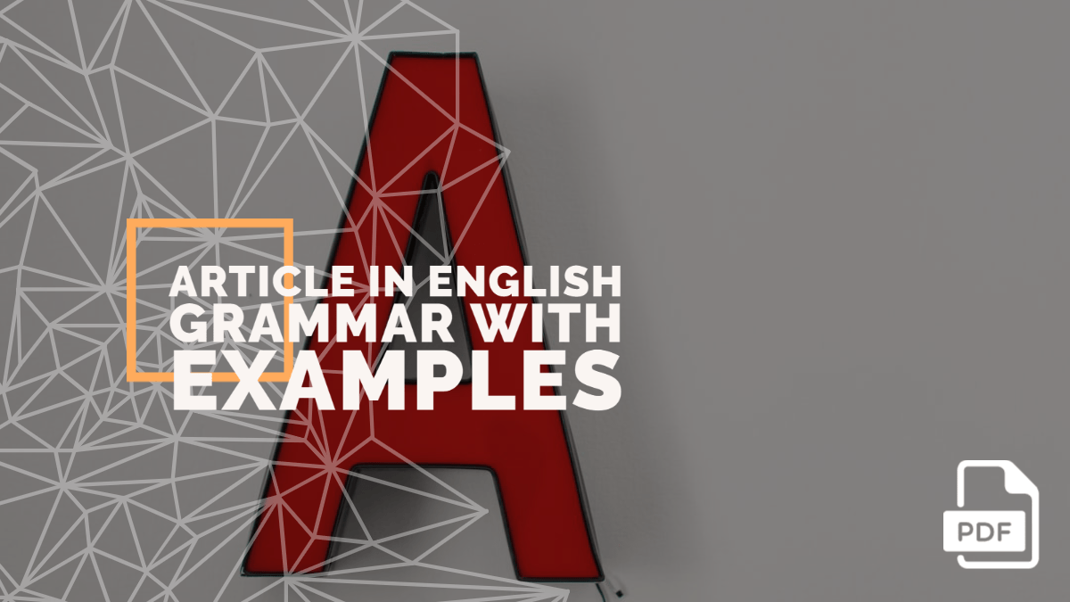 Article in English Grammar with Examples [PDF]