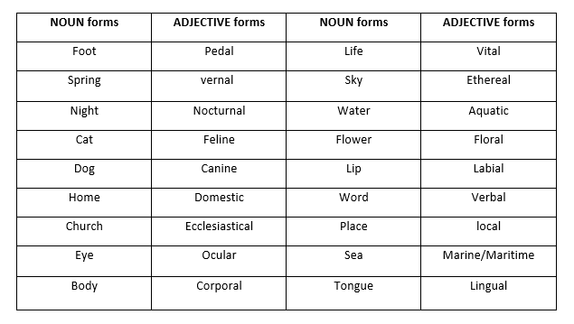 Adjective and Noun forms