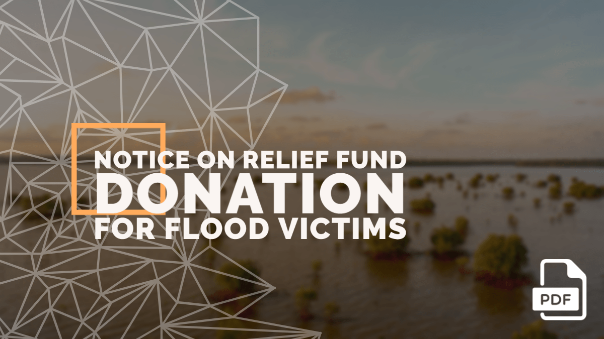 Notice on Relief Fund Donation for Flood Victims [Kerala & Bihar]