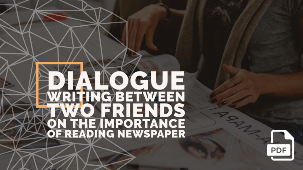 feature image of dialogue writing between two friends on the importance of reading newspaper