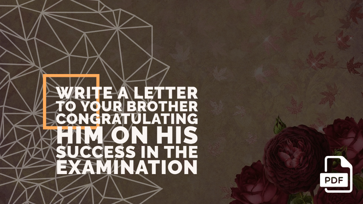 Write a Letter to Your Brother Congratulating Him on His Success in the Examination